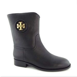 New TORY BURCH Logo Black Leather Ankle Boots 8